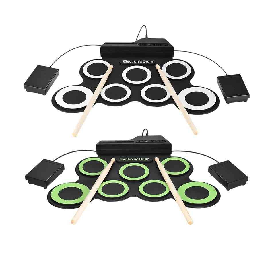 Portable Electronic Drum Set With Drum Sticks And Foot Pedal