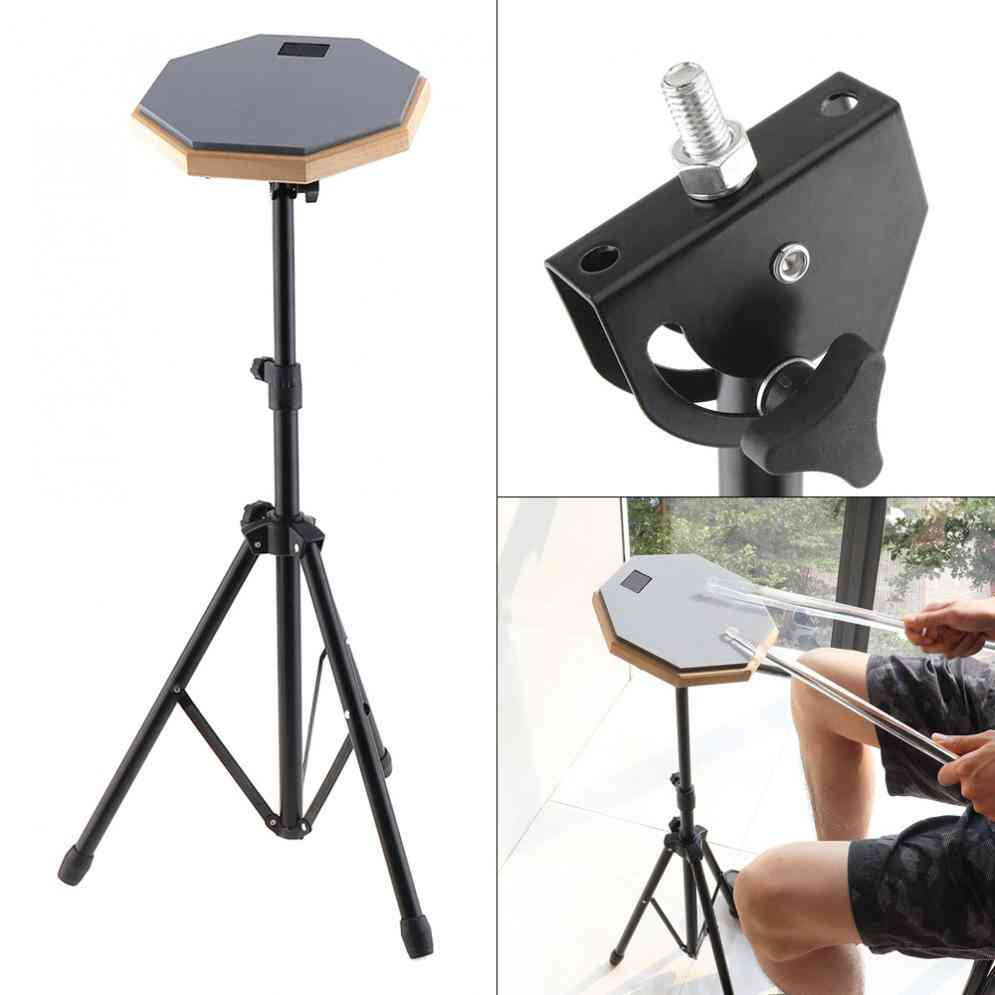 Rubber Wooden Dumb Drum, Beginner Practice Training, Pad With Stand / Stick Optional For Percussion Instruments Parts