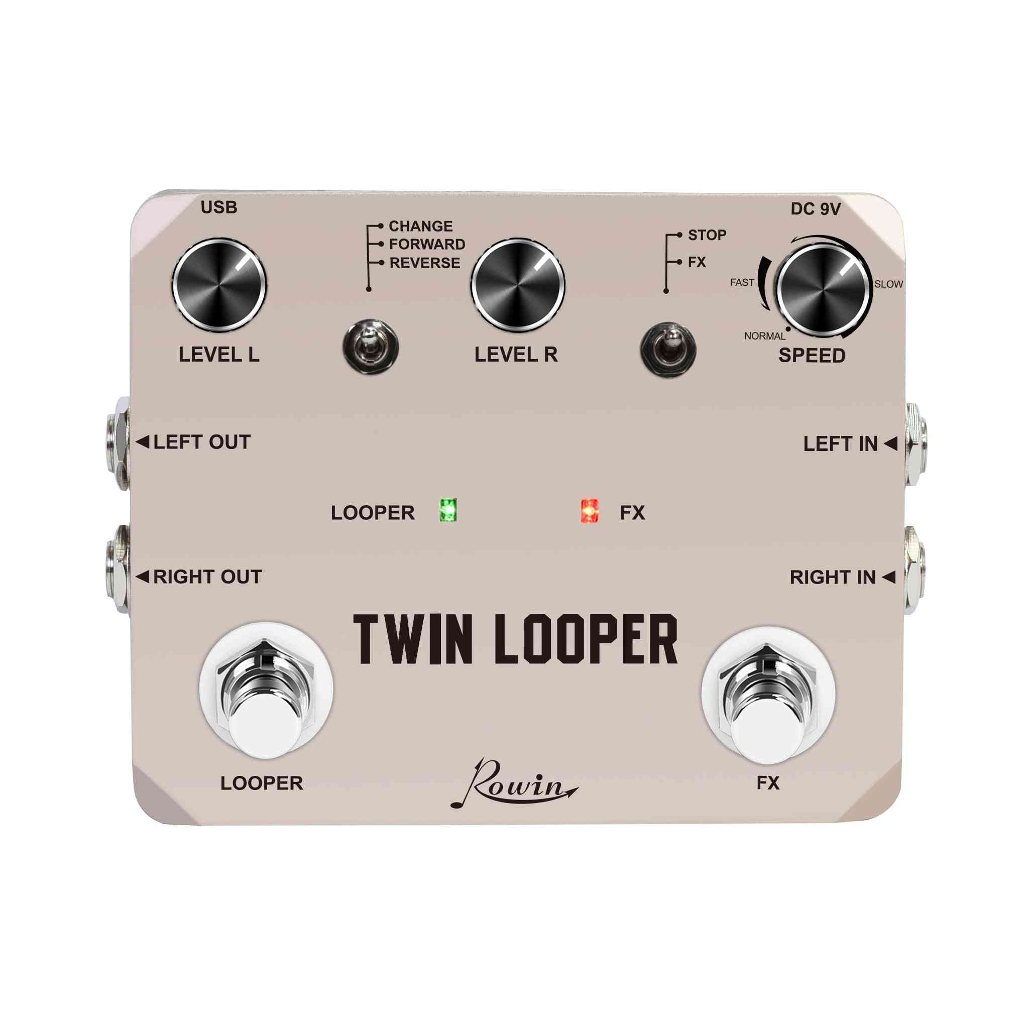 Rowin Twin Looper Station - Effect Pedal For Electric Guitar