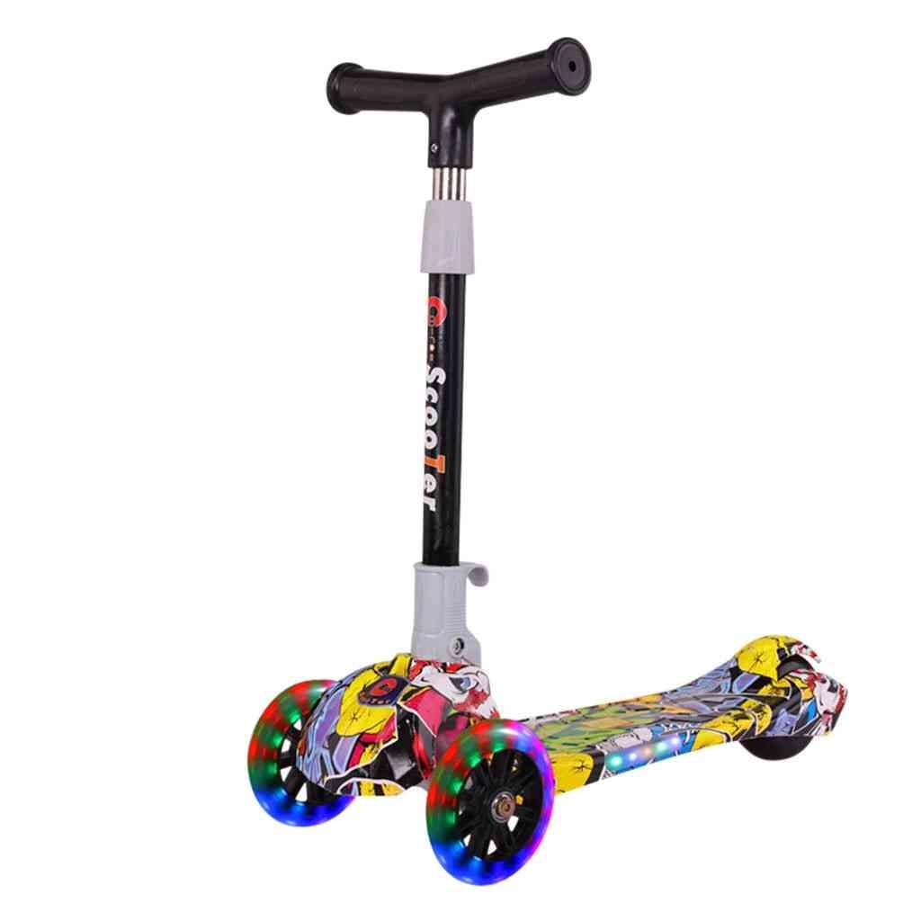 Folding Kick Scooter Adjustable T-bar Handlebar With Led Light Skateboard