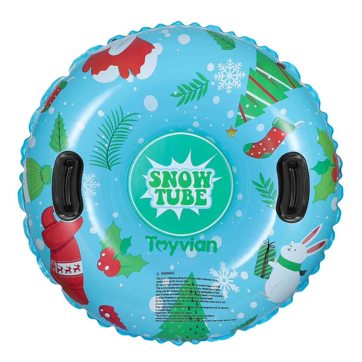Round Shaped Pvc Snow Sled With Handles For Skiing/skating