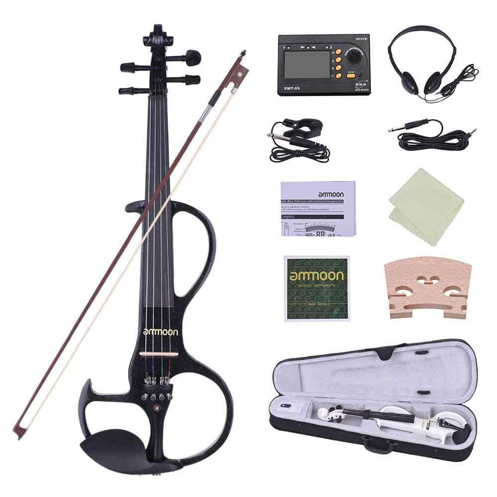 4/4 Violin Solid Wood, Electric Silent Fiddle, Fingerboard