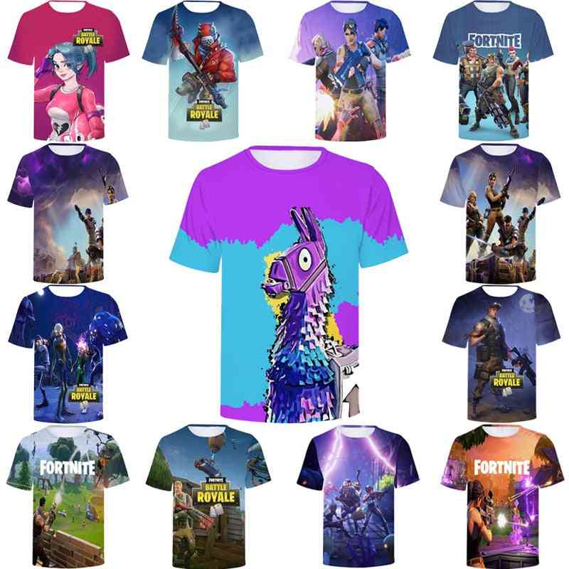 Fortniter And Battle Royal Character Inspired, 3d Printed T-shirt