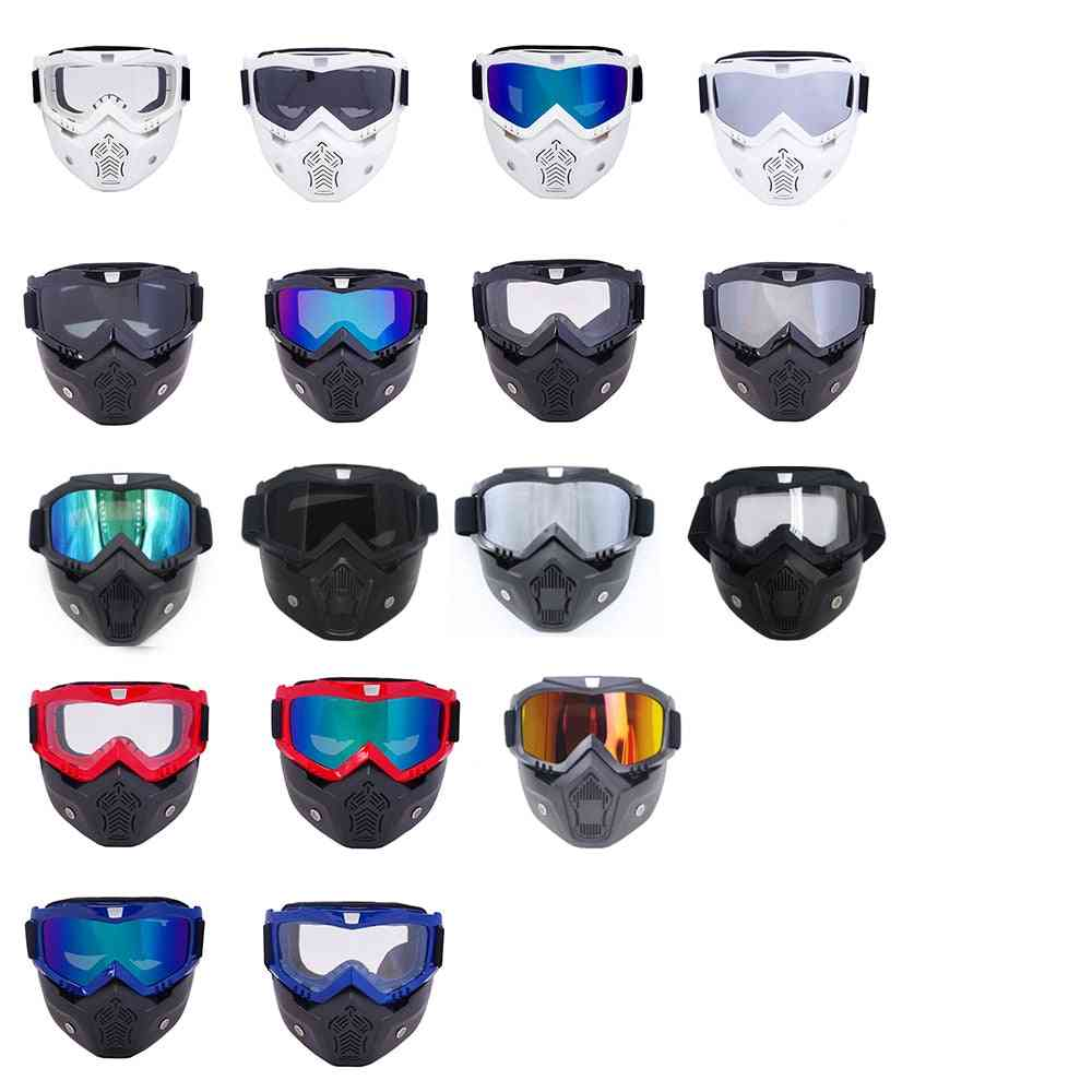 Men & Women Ski Snowboard Mask Skiing Goggles, Windproof Motocross Protective Mouth Filter