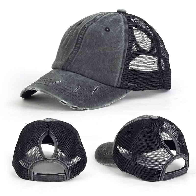 Casual Ponytail Baseball Cap Women Adjustable Sequins Caps Summer Hats Hiking