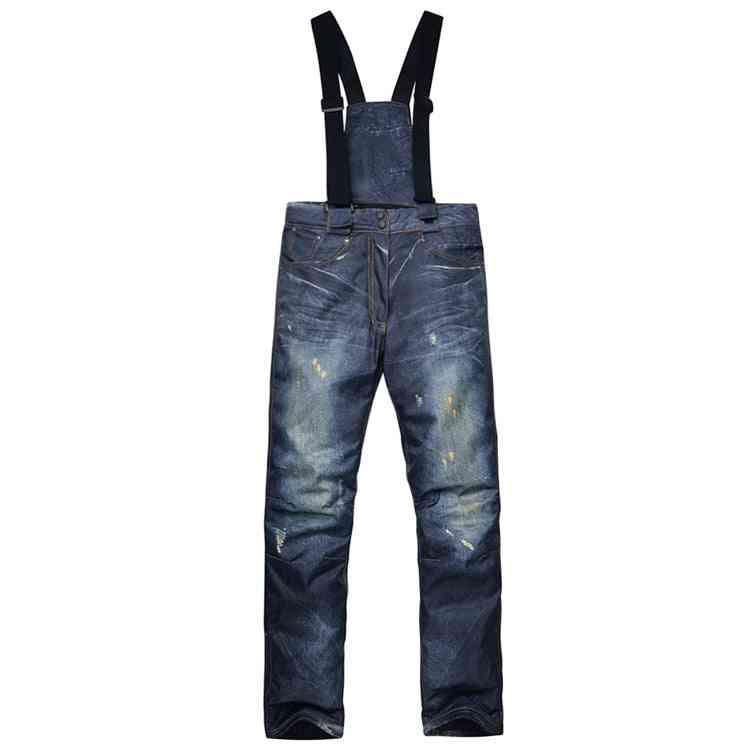 Men & Women Waterproof Winter Ski Pants, Windproof Warm Snow Breathable Mountain Skiing Trousers