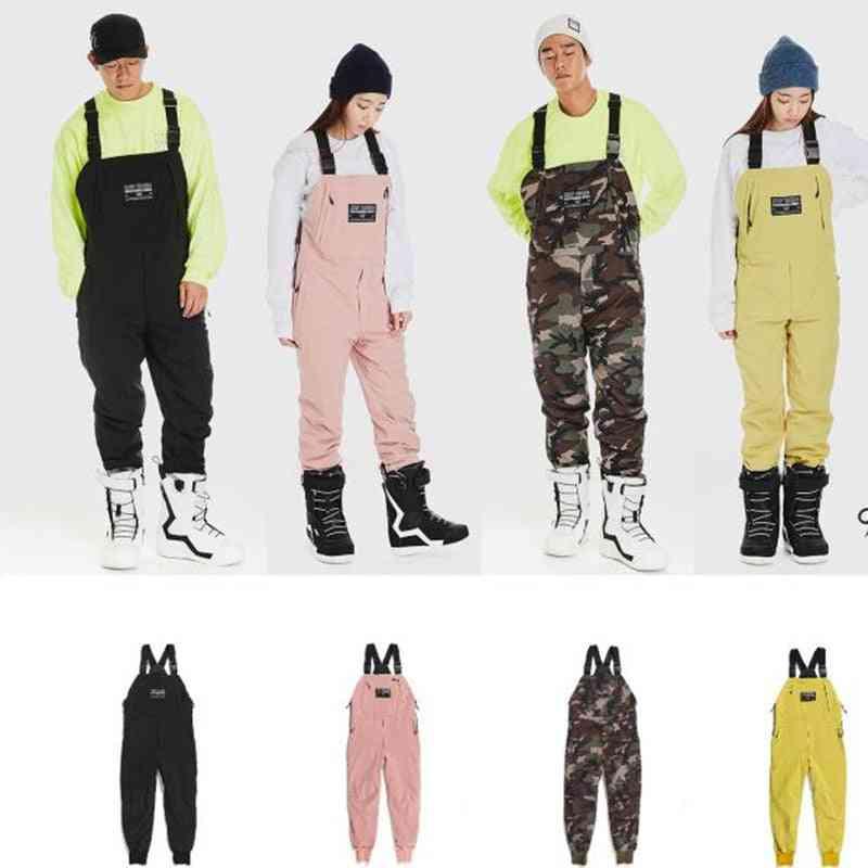 Essential Insulated Bib Drawstring Design Snowboard Pants -strap Jumpsuit