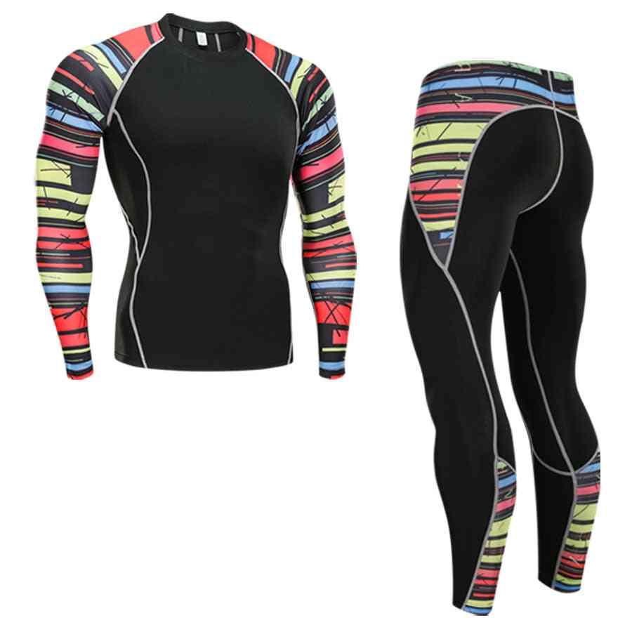 Men's Thermal Sports Wear Set-quick Drying Tights And T-shirt