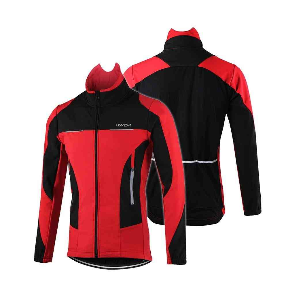 Outdoor Men's Cycling Jacket, Winter Thermal Breathable Comfortable Long Sleeve Coat Sportswear