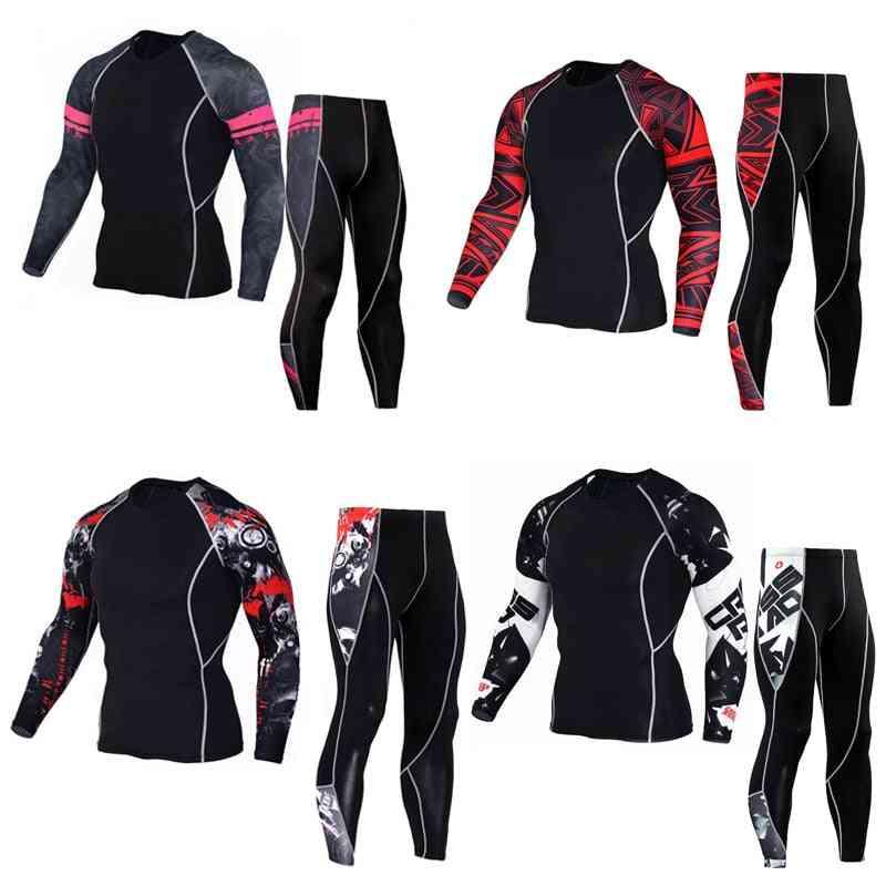 Man Sport Thermal Underwear Set, Compression Suit Cycling Jogger Set Rashguard Kit