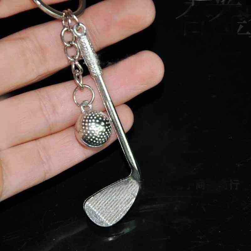 Beautiful Alloy Golf Club Ball Key Ring For Bag / Purse Pendant Decoration