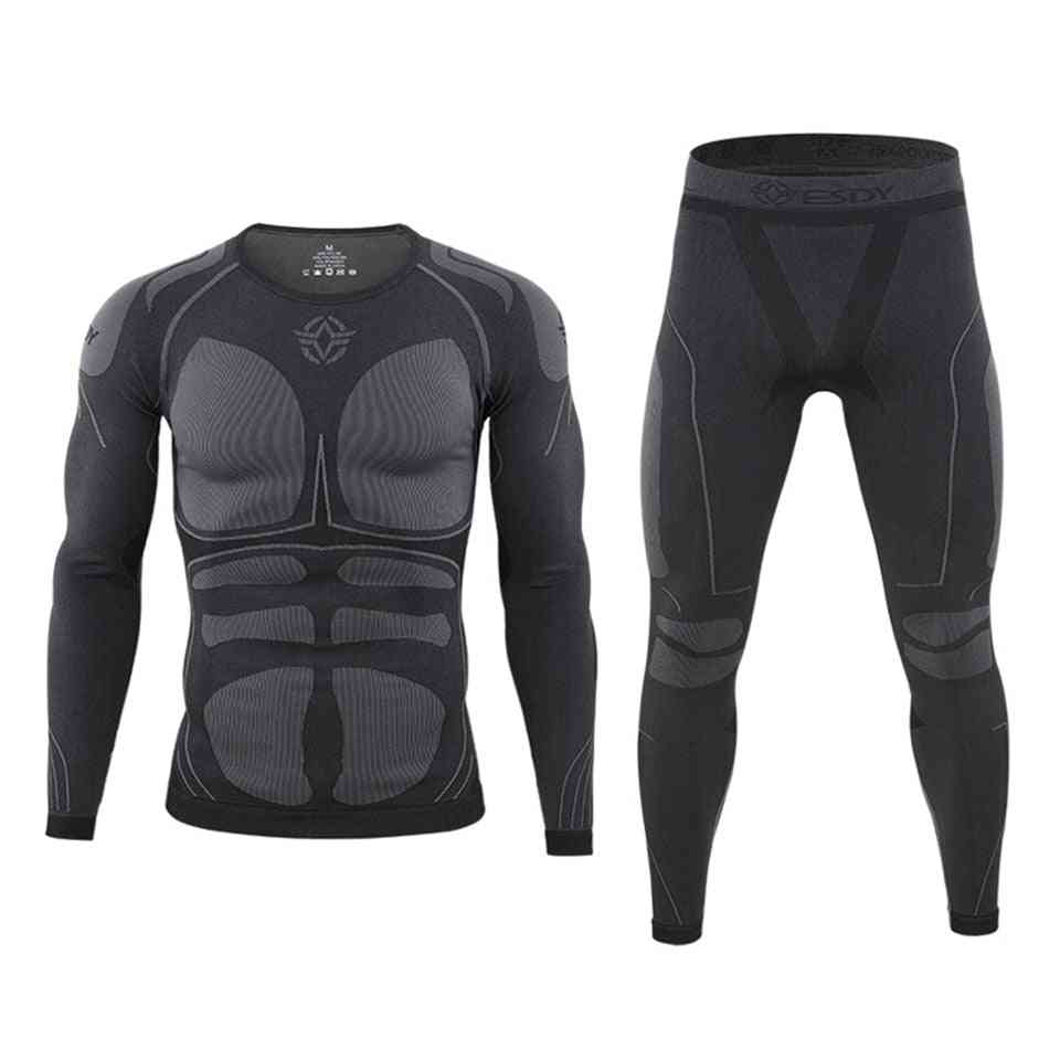 Thermal Skiing Underwear Sets, Warm-up Men Jacket/pants Quick Dry Clothing For Winter Outdoor Sports