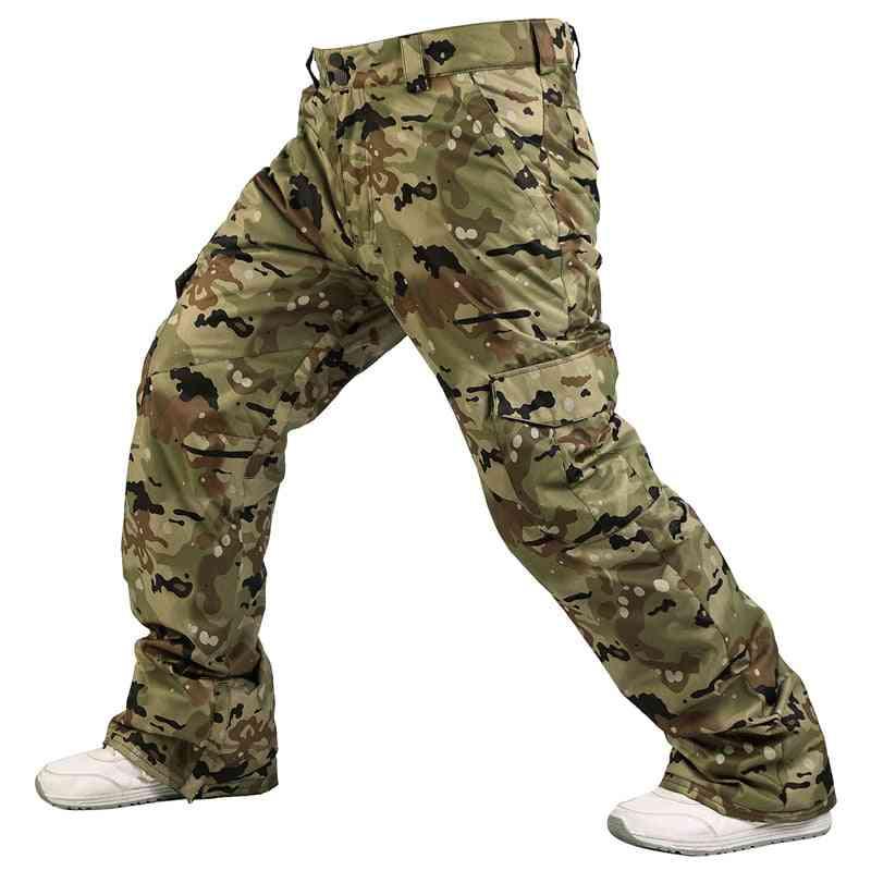 Waterproof Men's Snowboarding Pants With Zipper Pocket Warm Skiing Trousers, Camouflage Winter Warm Pant