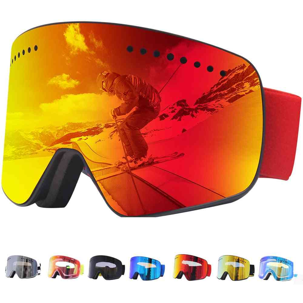 Winter Snow Sports, Anti-fog, Uv Protection, Spherical Magnet Goggles