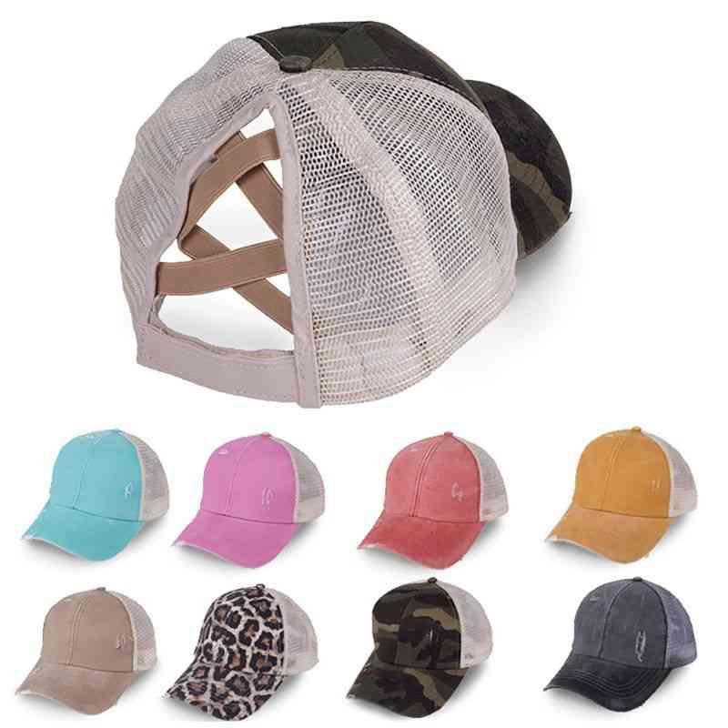 Ponytail Baseball Cap, Women Distressed Washed Cotton Trucker Messy Bun Hats