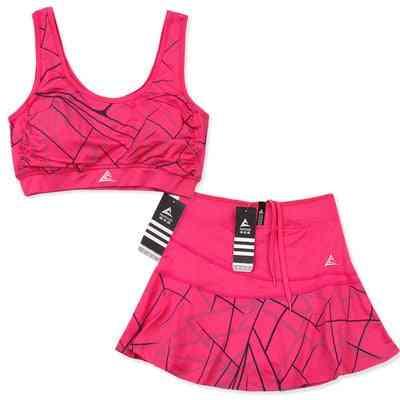 Women's Sports Safety Striped Short Skirt Abd Suit