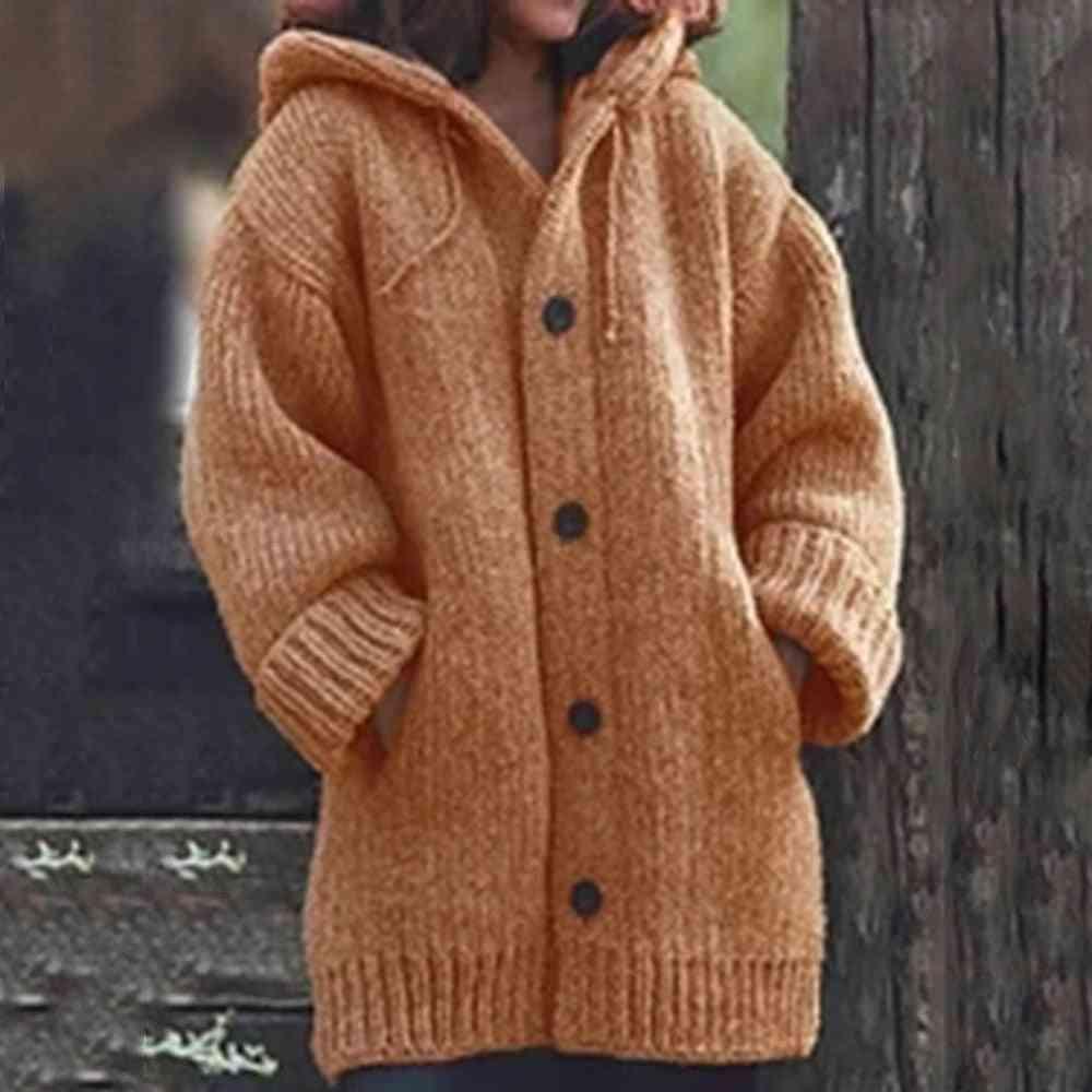 Women Long Cardigan Solid Hooded Sweater Knitting Coat Plus