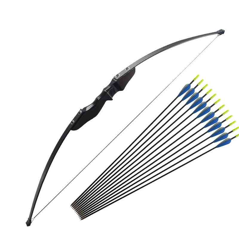 Wooden Recurve Bow, And Arrows,  Right-hander Archery For Beginner Hunting