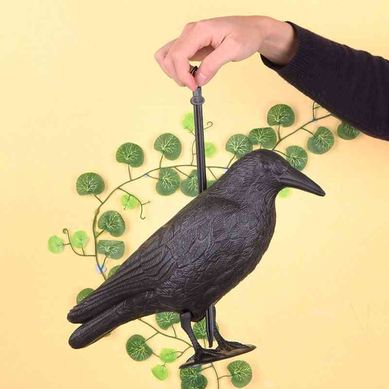 Outdoor Plastic Crow Decoy Hunting Coated Full Body Stand Accessories Attracting Prey