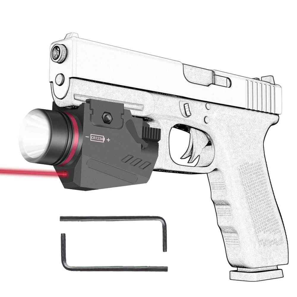 Tactical Led Gun Light, Flashlight Laser, Rail Pistol, Airsoft Hunting Shooting Accessory