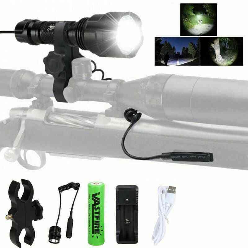 Hunting Flashlight Led, Weapon Pistol Light+rifle, Gun Rail Mount+pressure Switch+charger