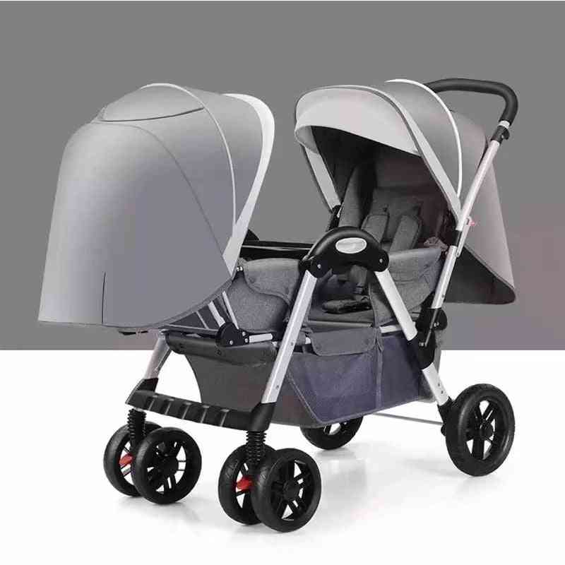 Twin Baby Stroller, Double Face-to-face Light Folding Shock Absorber Folding Trolley