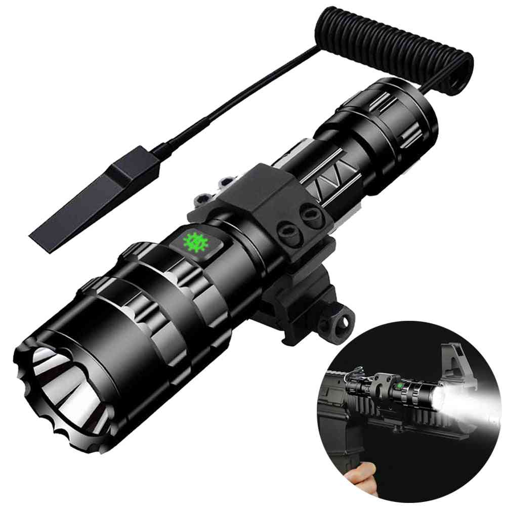 Tactical Flashlight Usb Rechargeable Torch, Waterproof Hunting Light With Clip, Shooting Gun Accessories