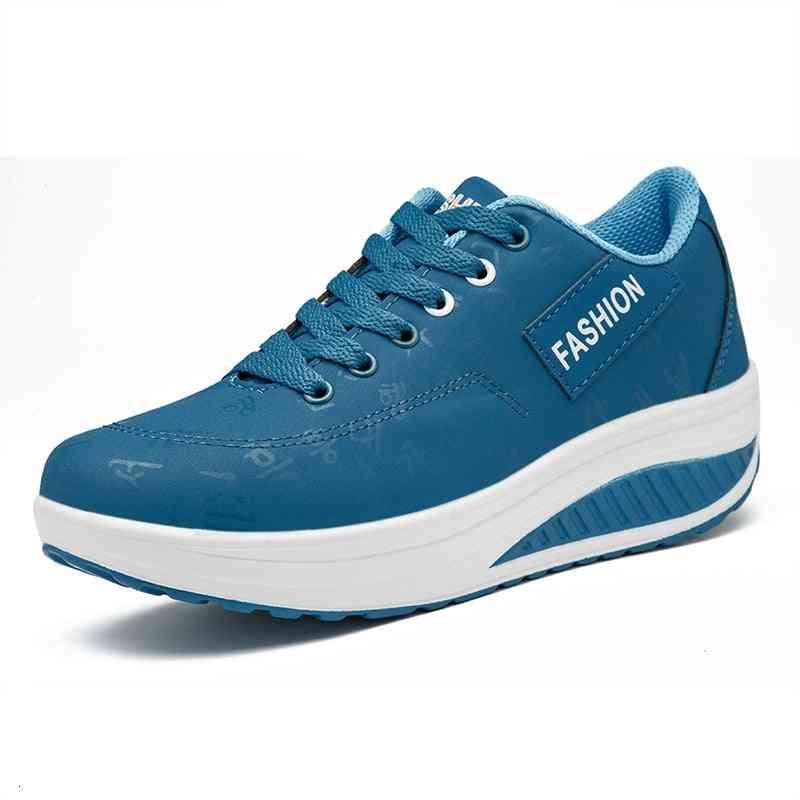 Waterproof Toning Shoes- Women Height Increasing Wedge Sneakers Fitness Shoes