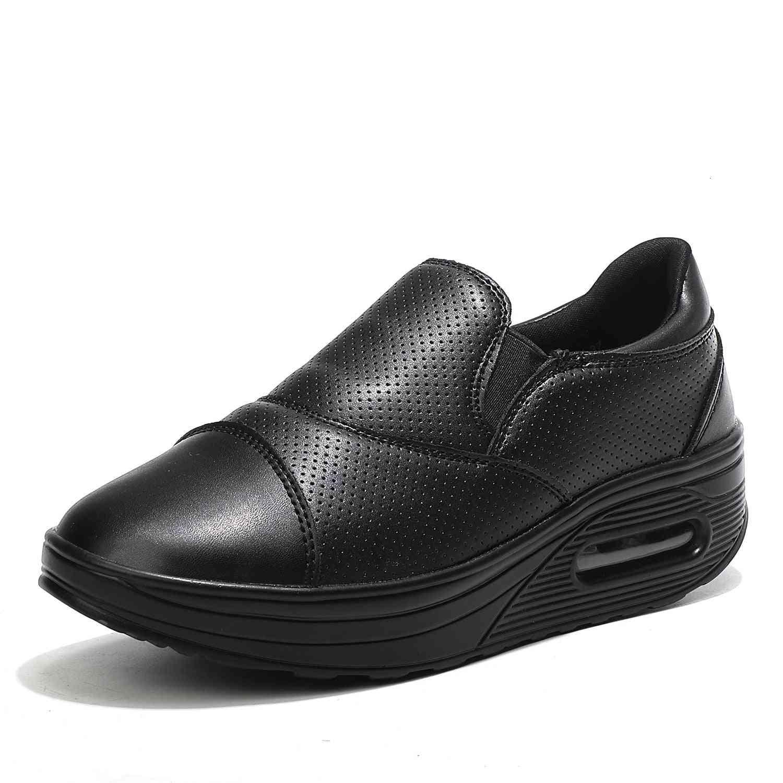 Waterproof Leather Platform Sneakers-air Cushion Swing Shoes