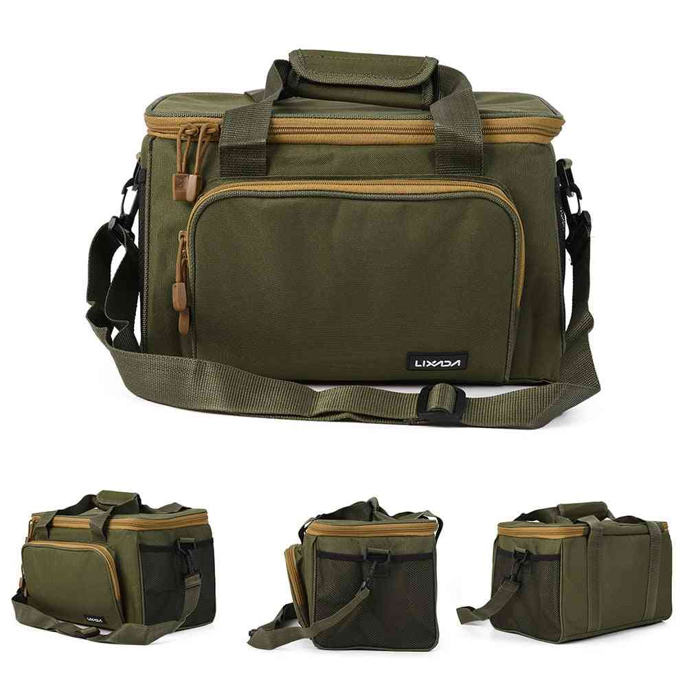 Men Fishing Bag Canvas, Multi Functional, Outdoor Waist Shoulder Pouch, Reel Lures