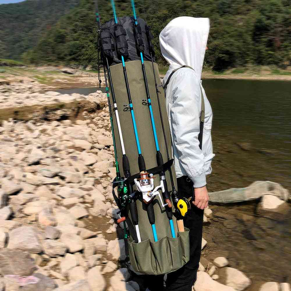 Fishing Bag Portable, Multi Function Nylon Rod Case, Tackle Tools Storage