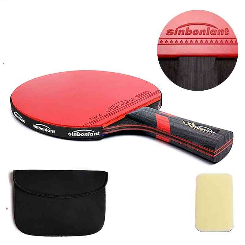 Tennis Table Racket Long-short Handle Carbon/rubber With Double Ping Pong Rackets