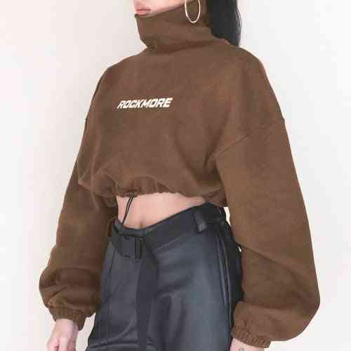 Cropped Loose Sport Top- Drawstring Women Sweater Sexy Gym Clothes