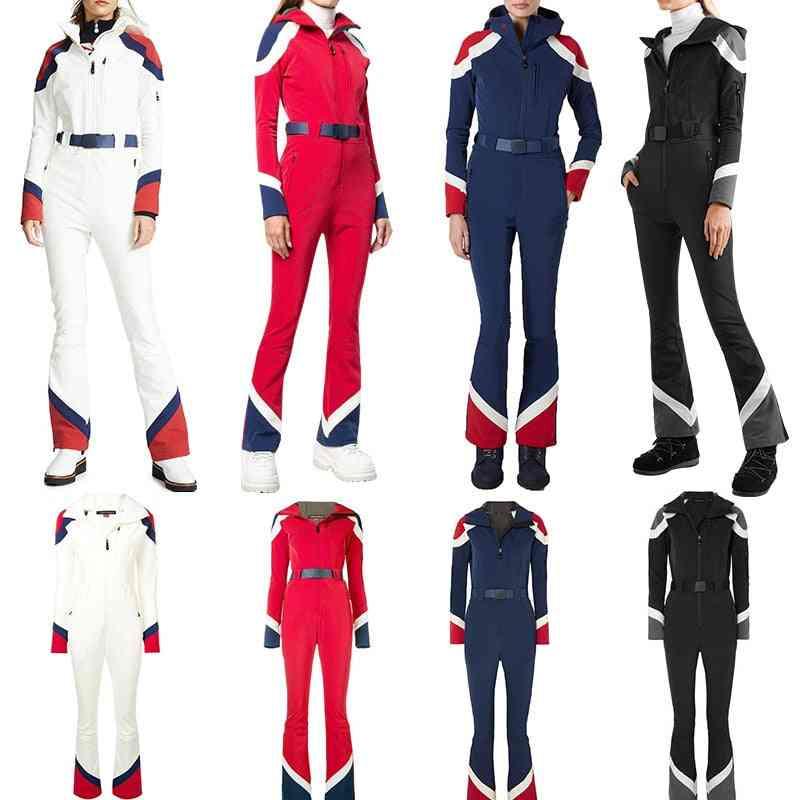 High Waist Jumpsuit Wide Skisuit, Women's Tight Lightweight Ski Clothes