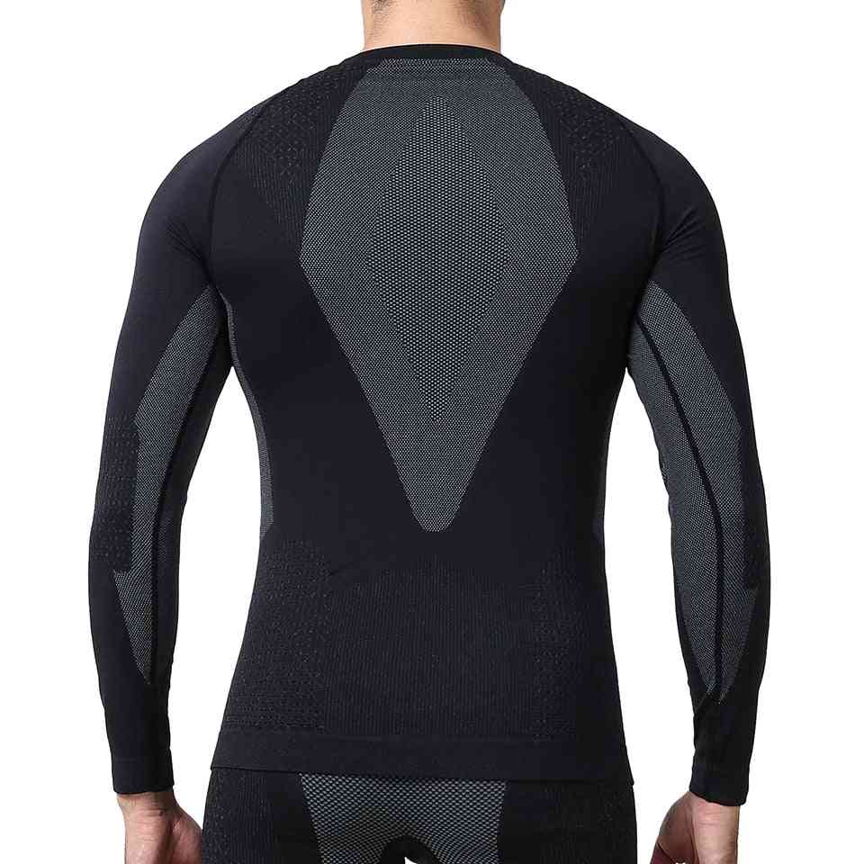 Men's Winter Gear Ski Thermal Underwear Sets, Long Sleeve Top Exercise Clothes Shirts And Pants