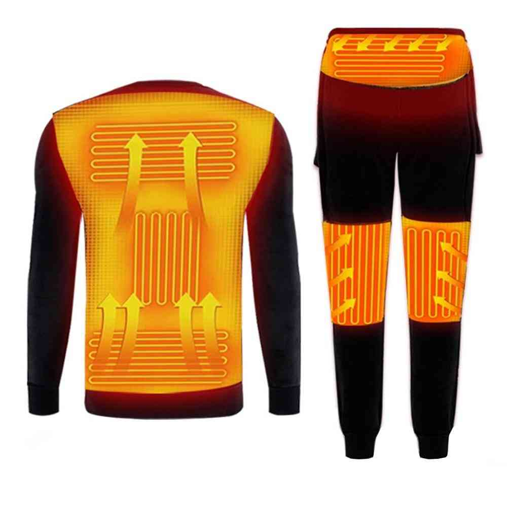 With/withour Powerbank, Usb Electric - Fleece Lined Thermal Optional T-shirts-pants Or Full Set