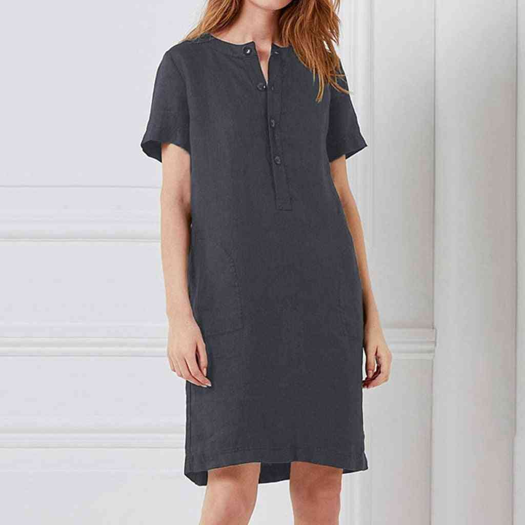 Fashion Womens Casual Loose Sexy Cotton And Linen Short Sleeve Dress
