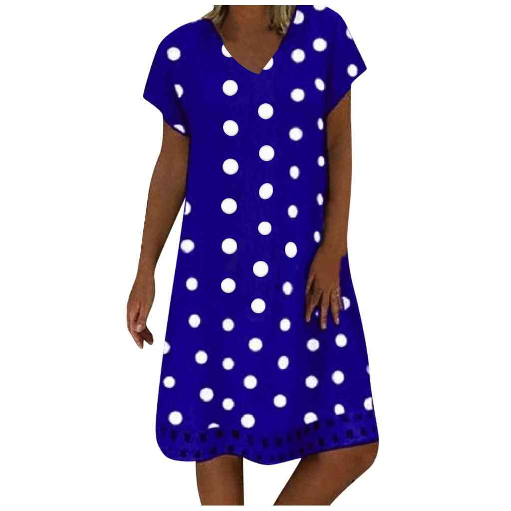 Fashion Women Casual Loose Polka Dot Print Colorblock Short Sleeves V-neck Dress