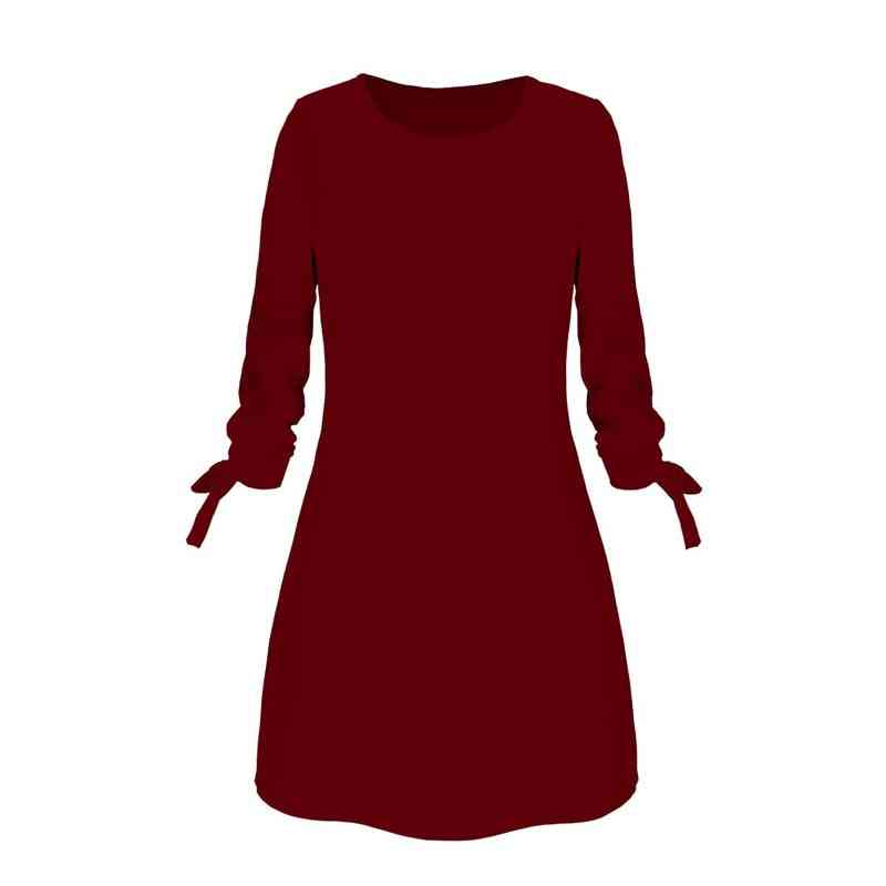 Ladies One-pieces Solid Color Rounded Neck Long Sleeves Casual Dress