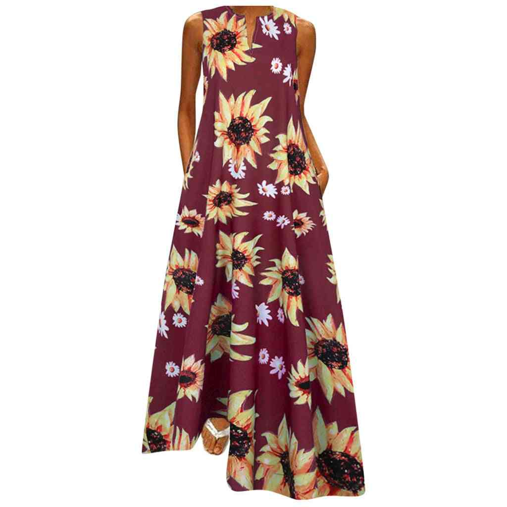 Women Sleeveless, Vintage Bohemian V Neck Maxi Dress