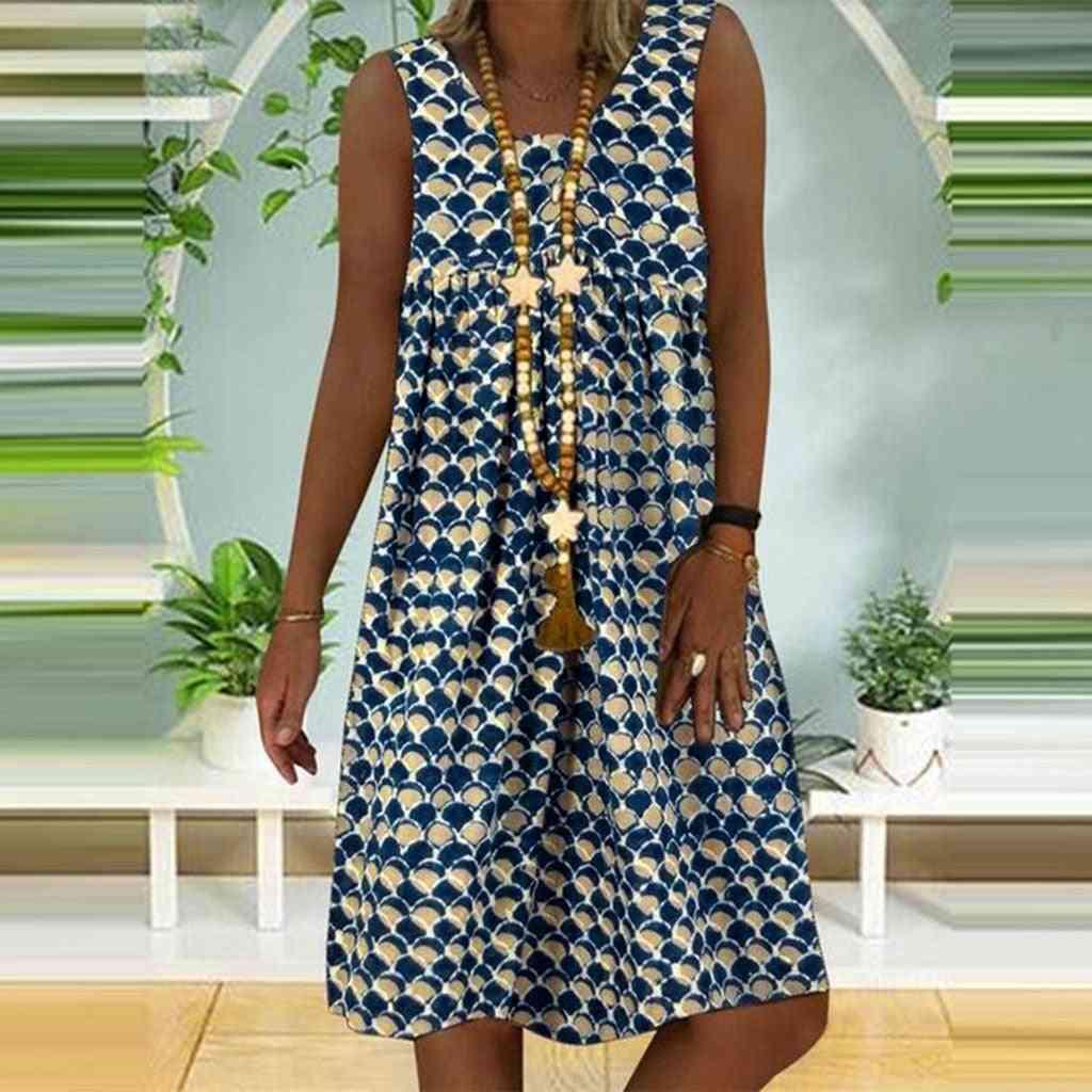 Women Ethnic Style, Stitched V-neck, Sleeveless Vest Dress