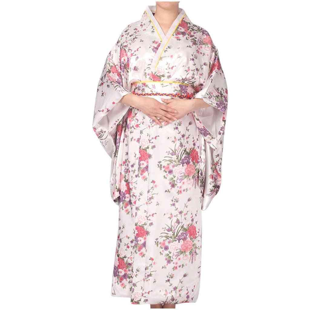 Simulation Silkkimono Long Sleeve Female Printed Bathrobe