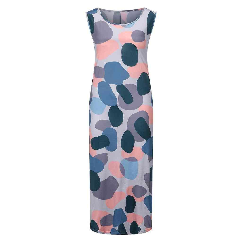 Fashion Womens Casual Loose Sexy Printed Round-neck Sleeveless Long Dress