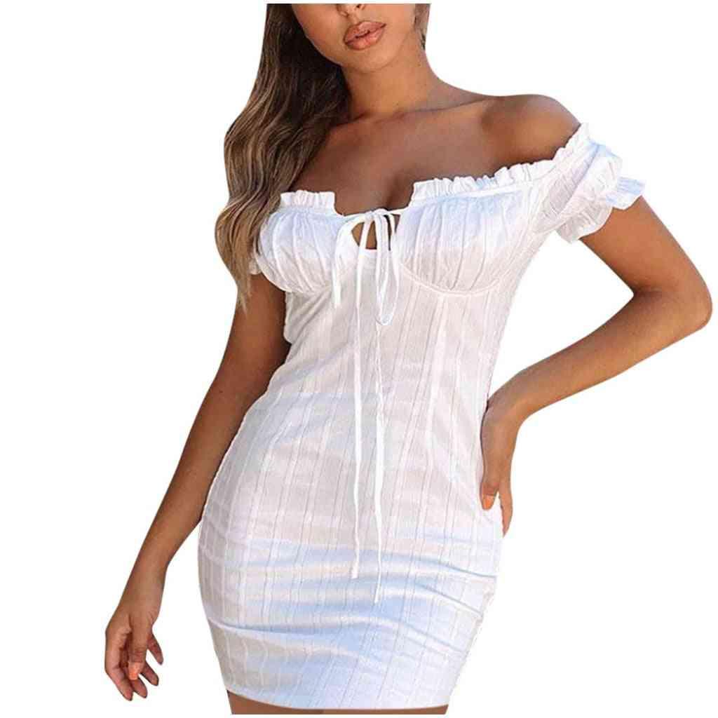 Women's Solid Off Shoulder, Half Sleeve Mini Dress