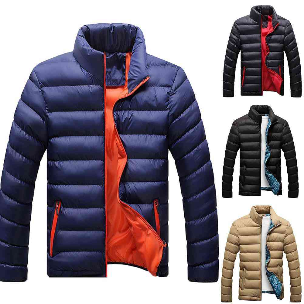 Men Casual Solid Color Zipper Stand Collar Long Sleeve Jacket Cotton Padded Coat