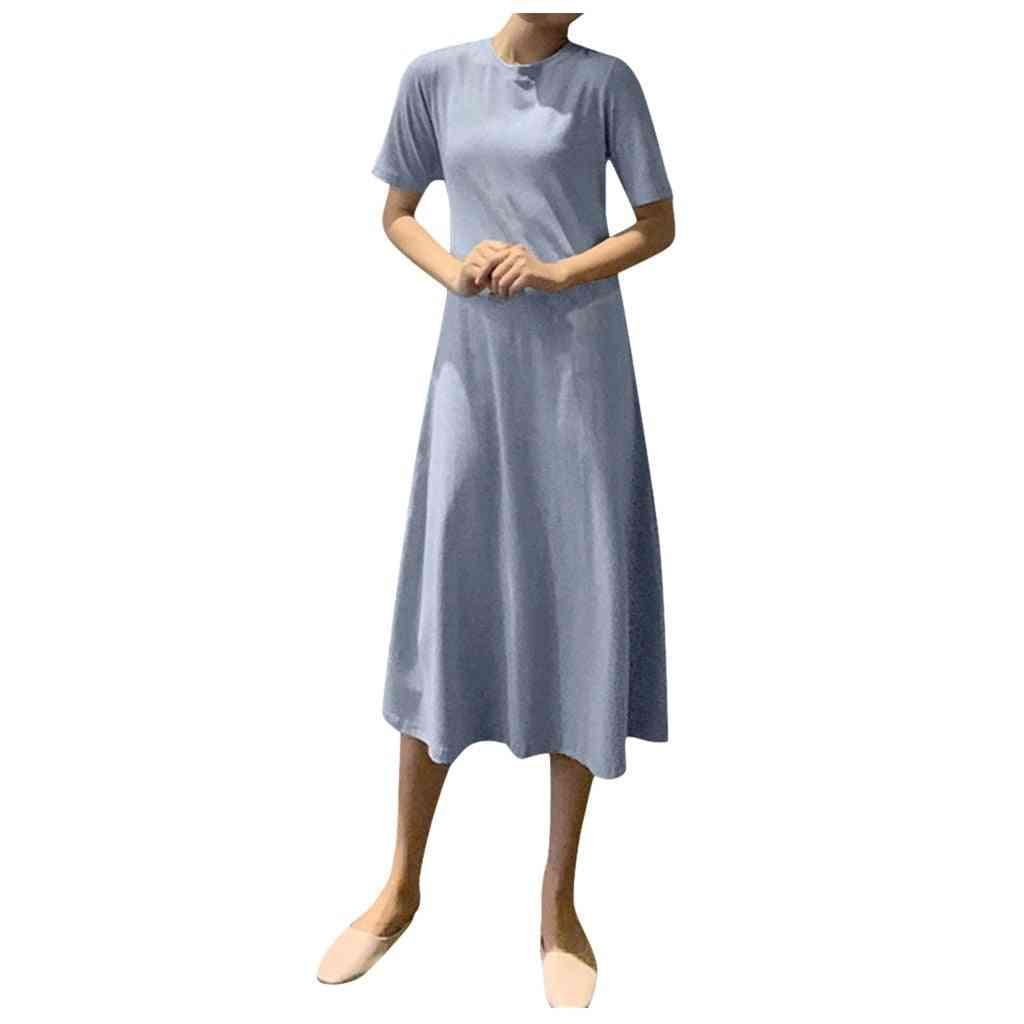 Women Summer O-neck Short Sleeve Solid A-line Long Dress