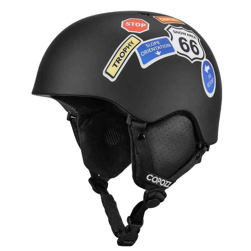Cartoon Printed, Integrally-molded And Half-covered Sports Ski Helmet