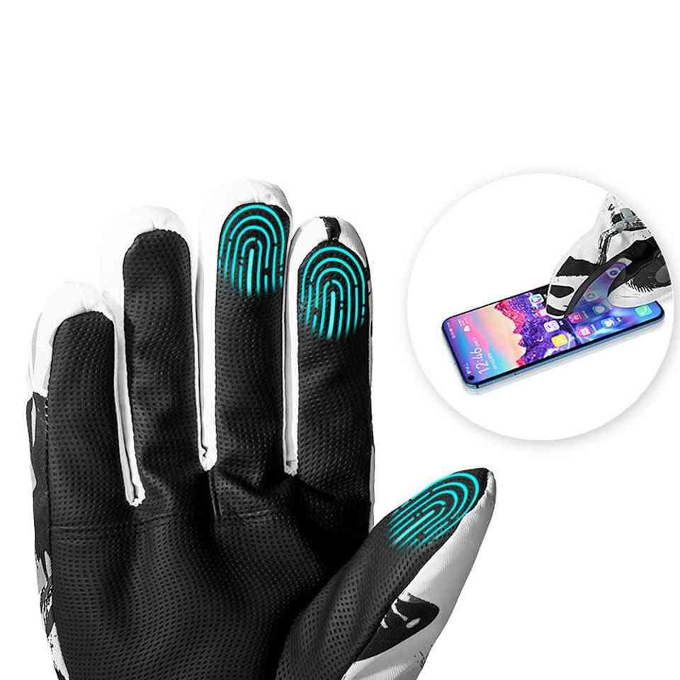 Winter Snowboard Ski Gloves - Leather Non-slip Motorcycle Cycling Fleece Warm Gloves