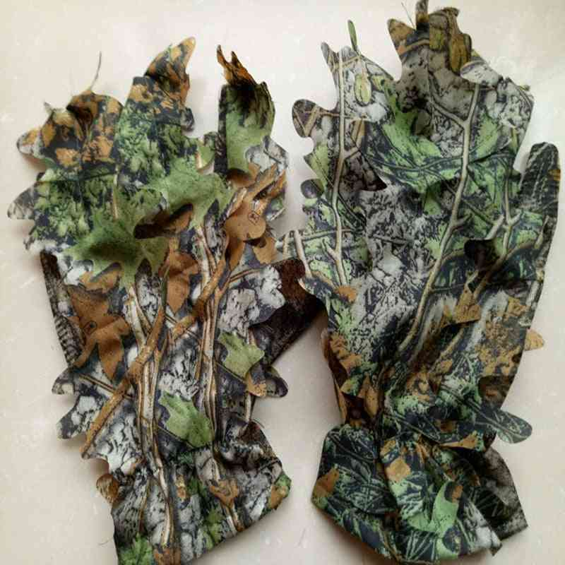 Outdoor Climbing Cycling Maple Leaves Bionic Camouflage Hunting Gloves
