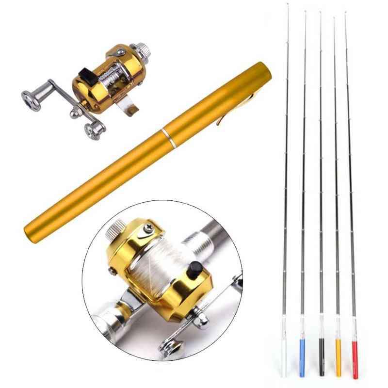 Portable, Pen Design Telescopic Fishing Folded Rod With Reel Wheel